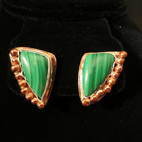 Malachite & Copper Earrings