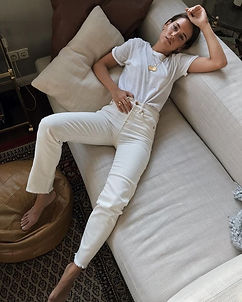 White basic t-shirt and white jeans outfit