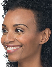 Black woman's face with smooth skin around her eyes