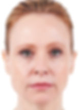 Red-haired woman with wrinkles around her lips and nose