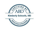 Seal certifying Kimberly Schoofs, MD, by the American Board of Dermatology