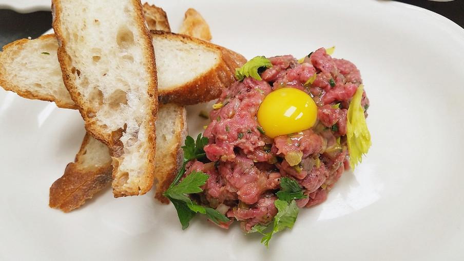 Filet Steak Tartare | Quail Egg | Peppered Crostini