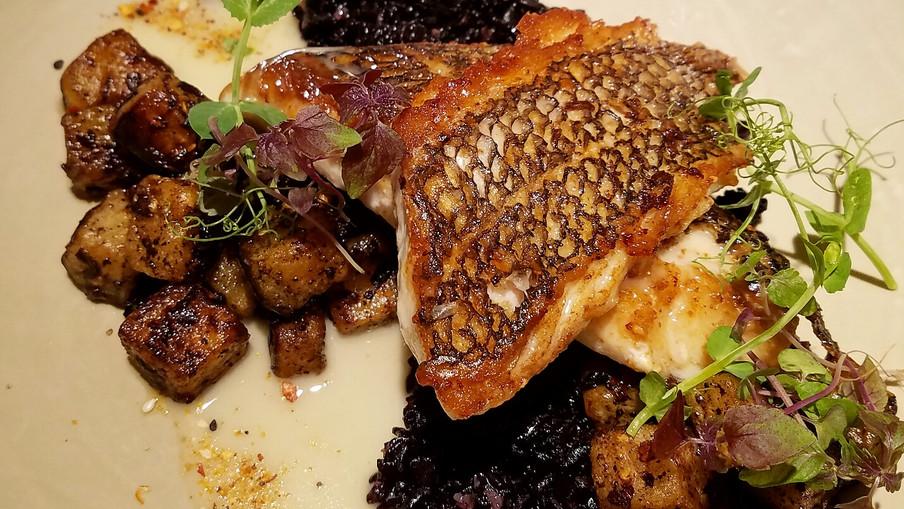 Pan Seared Seabass | Brown Butter Sunchoke | Forbidden Black Rice | Togarashi Spice Beurre Blanc