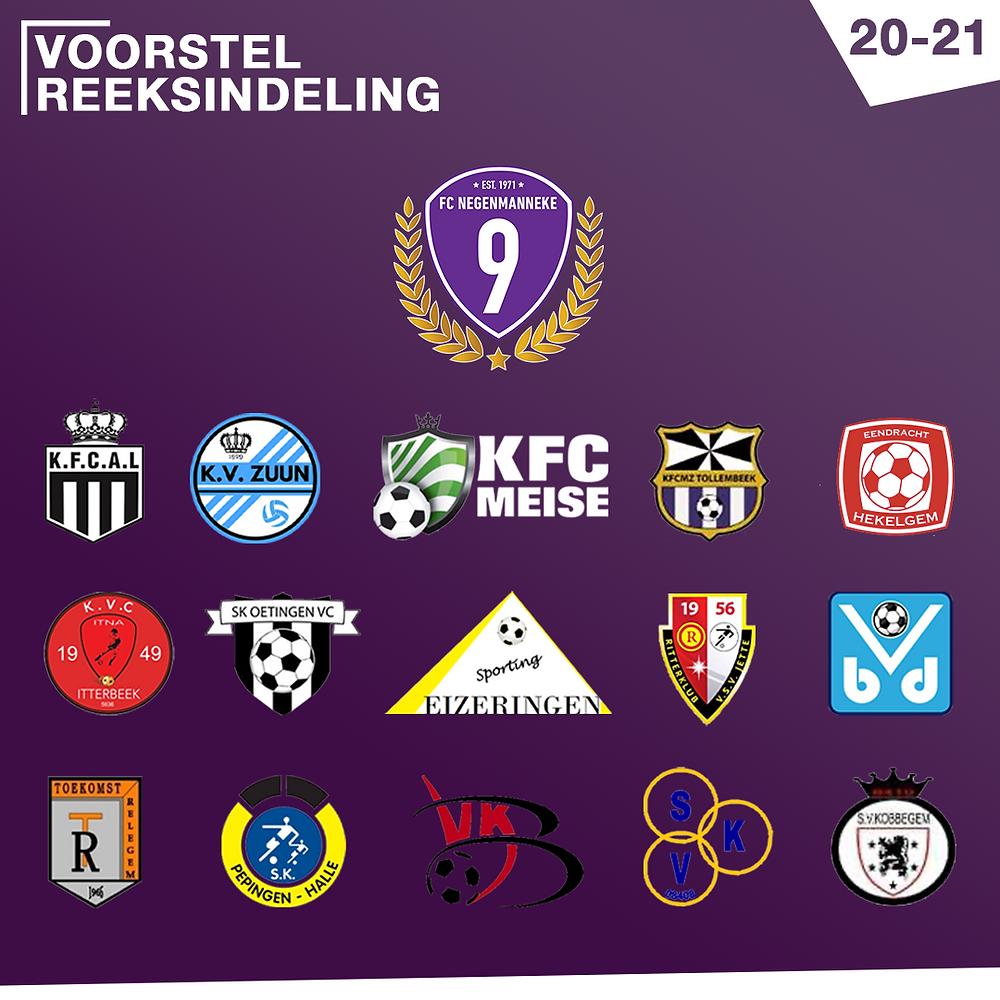 Reeksindeling FC Negenmanneke 2020-2021