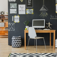 Creative working space with computer des