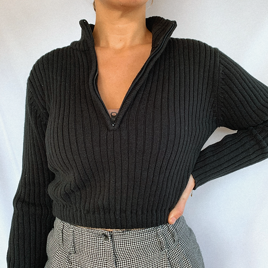 Ribbed Crop Half Zip (S)