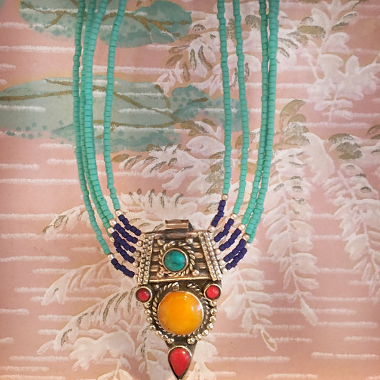 Beaded Drop Medallion Necklace