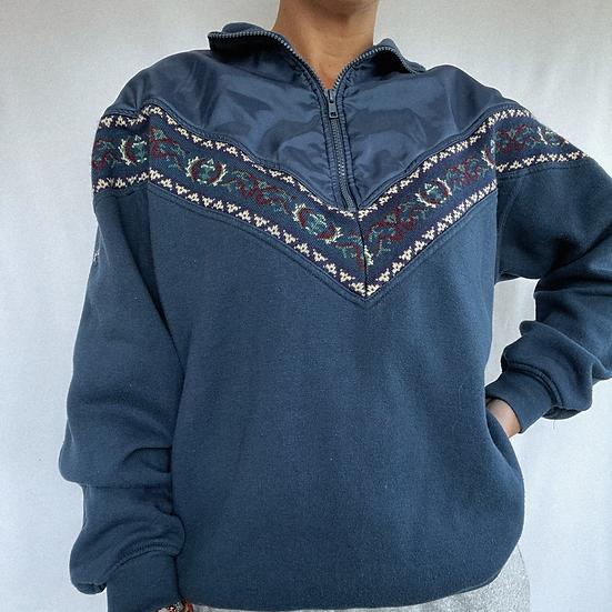 Retro 1/4 Zip Aztec Pullover (M)