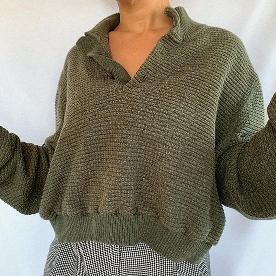 Olive Knit Crop Sweater (L)