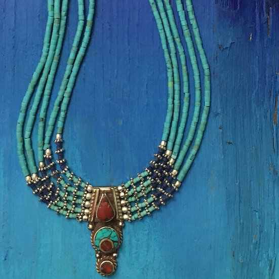 Turquoise Beaded Small Coral Medallion Necklace