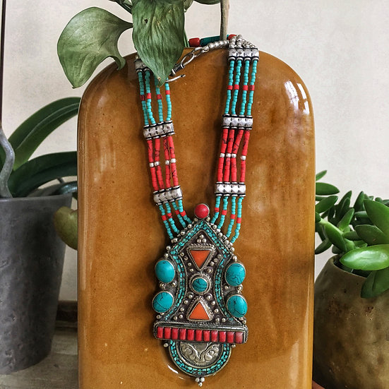 Large Medallion Coral & Turquoise Necklace