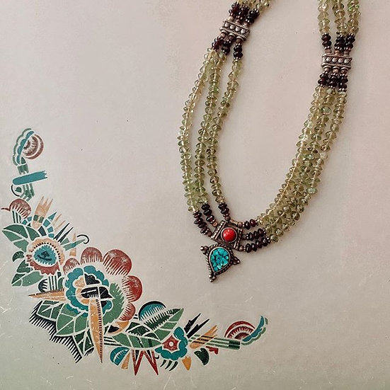Sage Beaded Necklace With Torquise Medallion