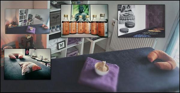 Salle de massages, flacons d'huiles, coussins de détente - Shanti Massage en imags