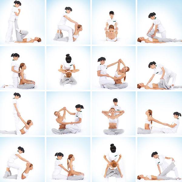 16 vignettes représentan 2 femmes effectuant des positions d'étirement à deux - Shanti Massage