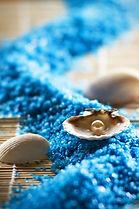 Cailloux bleus et coquillage harmonieusement disposés - Shanti Massage