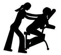 Shéma noir et blanc d'un massage du dos sur une chaise ergonomique