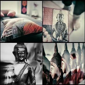 Shanti massage Nantes - Images de boudha et coussins de détente