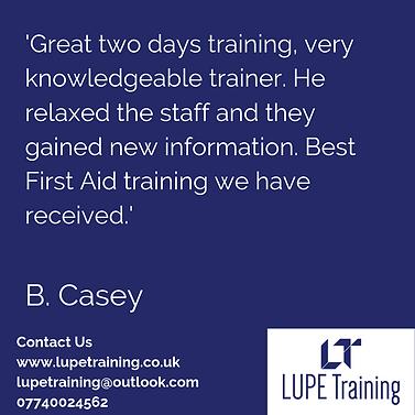 LUPE Trainig First Aid Training