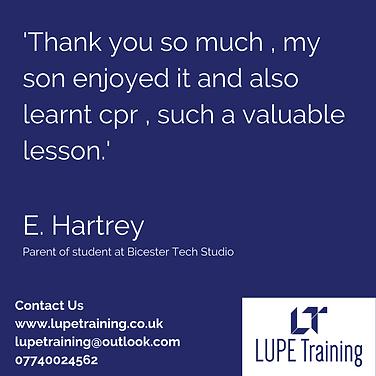 LUPE Training First Aid Feedback