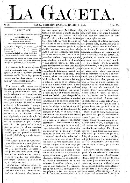 La Gaceta. enero 1, 1880