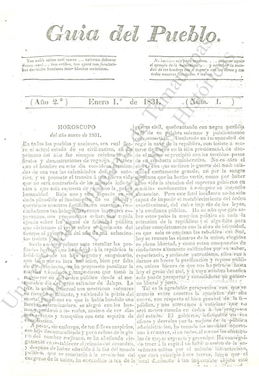 Guia del Pueblo. enero 1, 1831