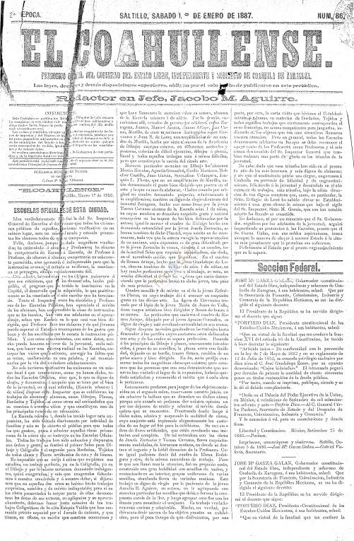 El Coahuilense. enero 1, 1887