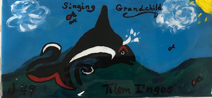 """J49 Tilem l'nges born to J37 (Hy'shqa), her first calf. He is 8 years old and his name means """"Singing Grandchild"""".  This really touched my heart as a singing grandmother! He received his name at a traditional Samish Nation naming ceremony. His mom and her siblings, Suttle J40 and Se-Yi-Chn J45 also received their names in this manner. His mom was 11 years old when she gave birth to him her first calf; the youngest documented Southern Resident orca to give birth. She then made her mom, J14 Samish, a first time grandmother and J2 Granny a great great grandmother! The Center for Whale Research got an amazing photo of him with his dorsal fin flopped over (which makes birth easier; it stands up shortly after birth. I learned this from a post from Monika Wieland Shields who wrote Endangered Orcas, a book I hope to read soon. I got the inspiration for my painting from a book by Robert James Challenger called Eagle's Reflection and Other Northwest Coast Stories."""
