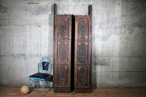 This incredible ornately carved 100+ year old salvaged antique door set was  pulled from an Indian antique yard. These doors are simply stunning. - AntiqueHeavily Carved Teak Wood Indian Doors Set