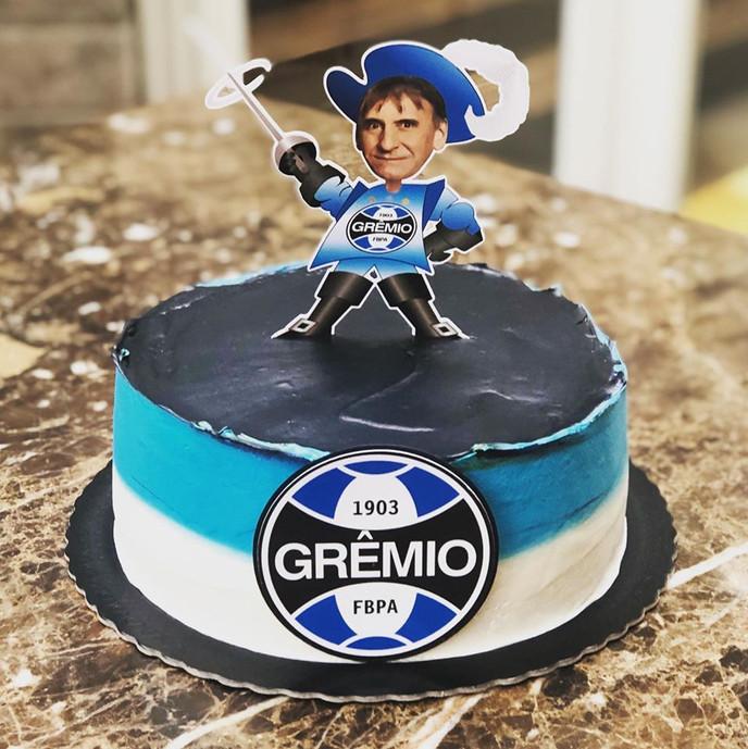 Topo de bolo Grêmio com foto