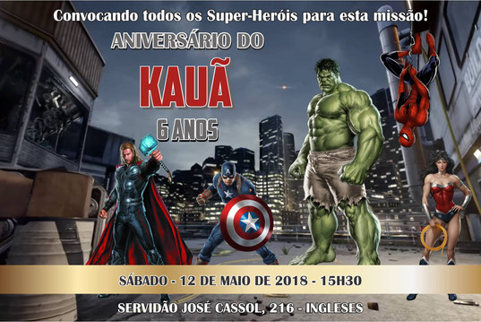 Convite Super Heróis impressão 4x0