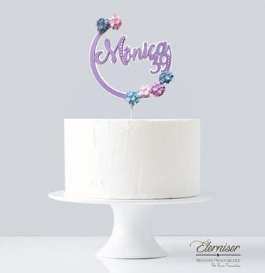 Topo de bolo personalizado Hortênsias