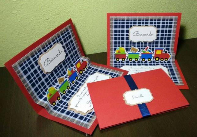 Convite pop-up brinquedos