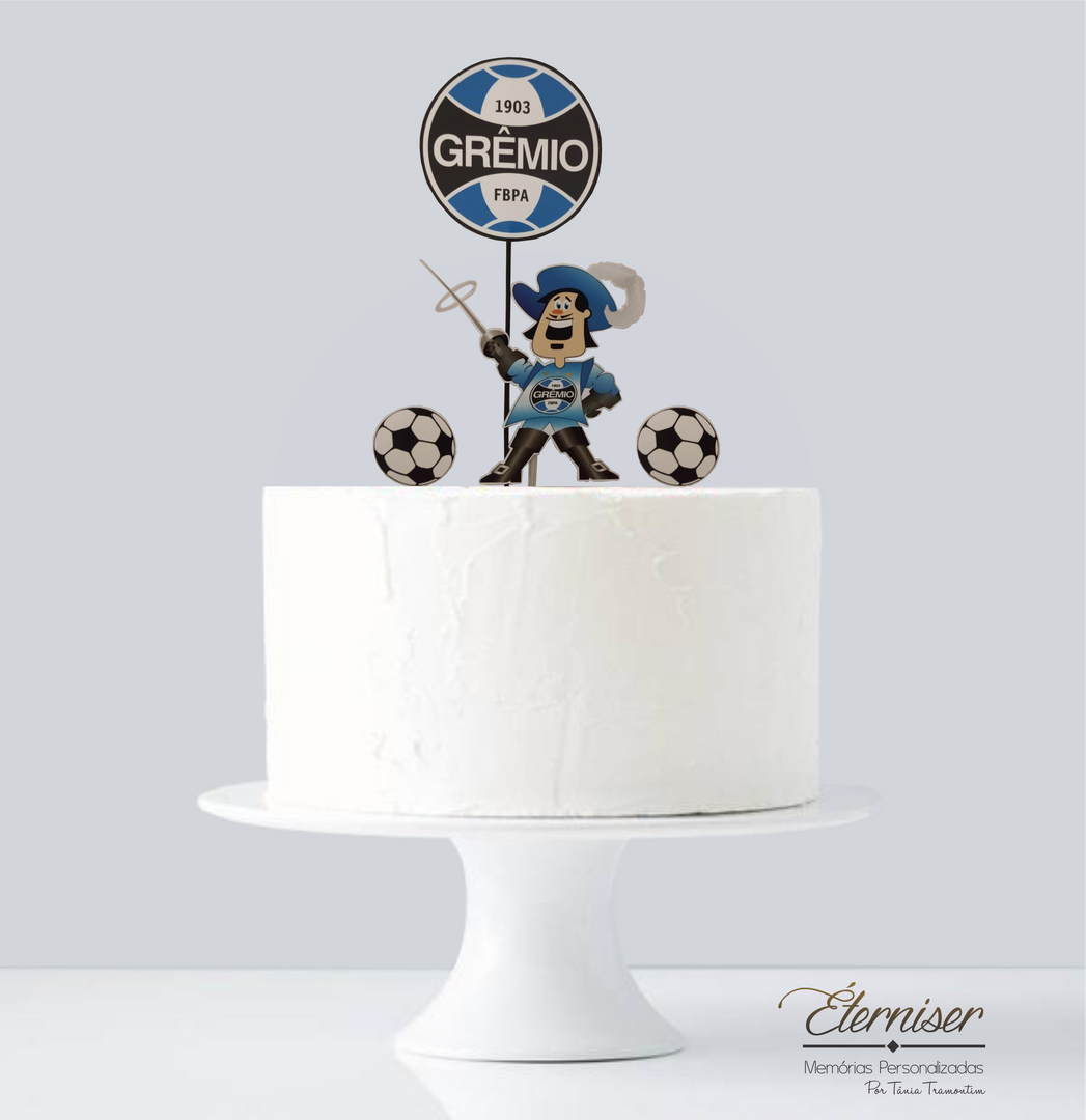Topo de bolo Grêmio símbolo