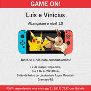 Convite virtual Pokémon Nintendo Switch