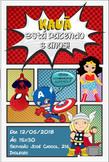 Convite heróis baby impressão 4x0