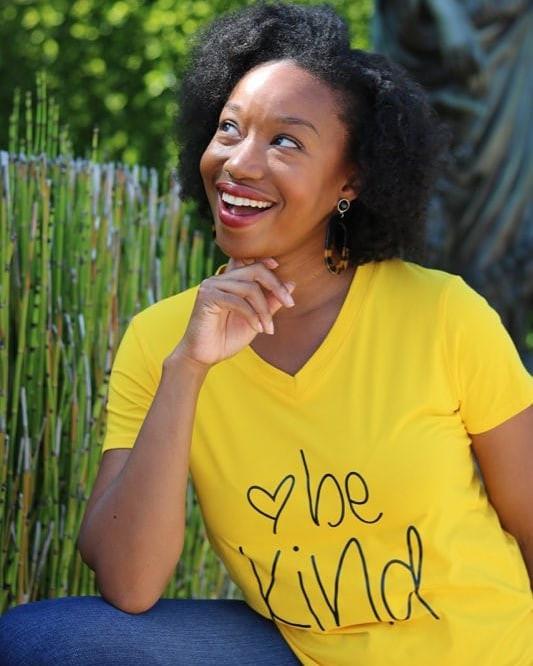 Be kind shirt on Maya Lynne Robinson2
