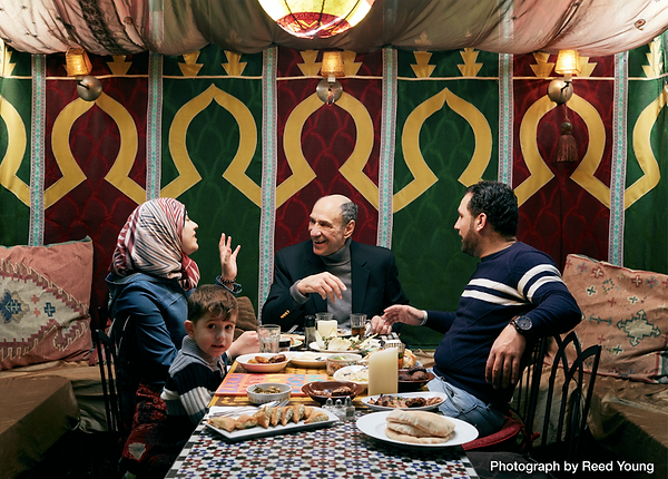 F Murray Abraham with Syrian Family in A