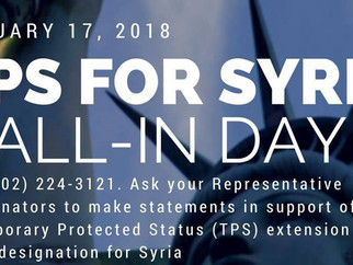 Call to Action: National Call-In Day for TPS for Syria