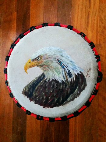 Eagle Djembe close up