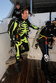 James Wilson getting ready for a dive.