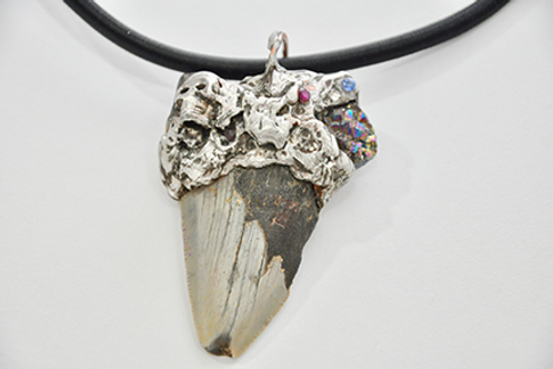 Megalodon Shark Tooth Hand Gilded Pendant