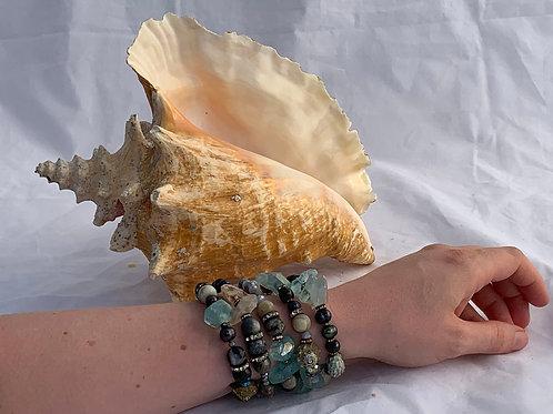 Octopus Wrap Bracelet in Caspian Sea Blue/Black