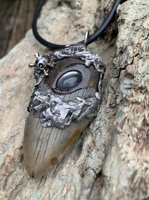 Eye of Cthulhu Megalodon Shark Tooth Pendant