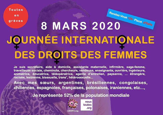 8 MARS 2020 journée interationale des droits des femmes LIDDFC.org