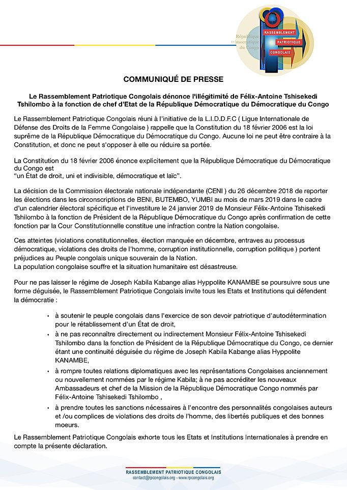 Communiqué de presse illégitimité de Félix-Antoine Tshisekedi - LIDDFC