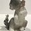 porcelain lladro, grey and white lladro; cat with mouse