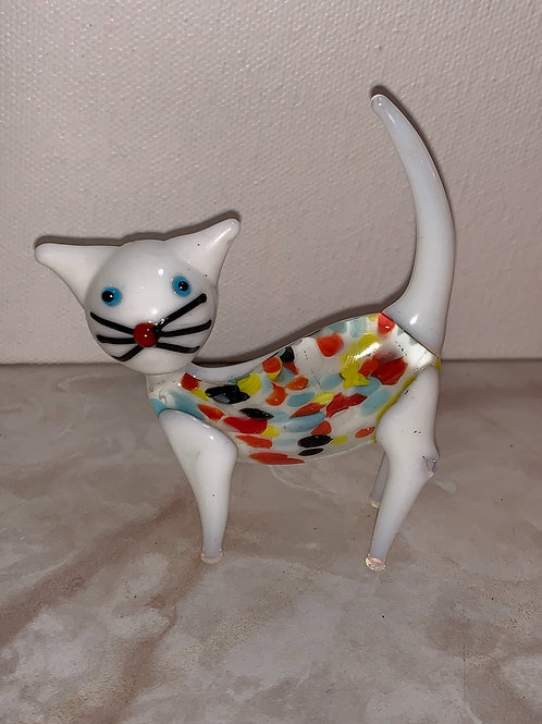 fused glass cat figurine; special kitty; bright kitty