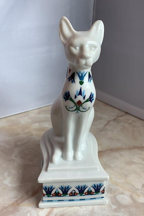 white pharaoh cat stash box, pharaoh trinket box