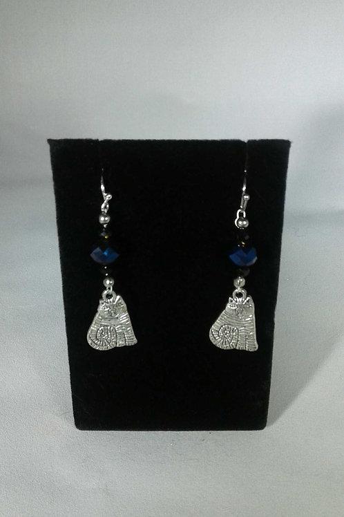 CATS Glass Blue Bead w/ Cat Earrings
