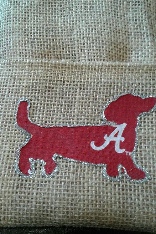 Alabama Dachshund  Upcycled Burlap Side Bag